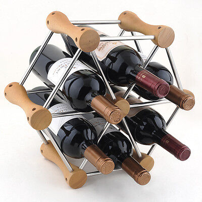 Wood Wine Bottle Holder Rack Change Transform Fashion Bar Kitchen Decor