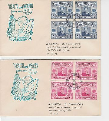 B06650 Philippinen Philippines 557-558 FDC 1952 Blocks   Tag des Obstbaumes