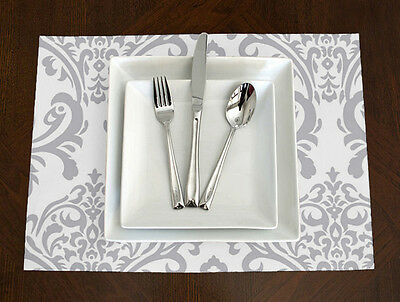Set of 4 - Sweet Jojo Designs Grey & White Damask Elegant Placemats Table Topper