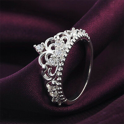 Women Princess Queen Crown Silver Plated Ring Wedding Crystal Sterling Ring