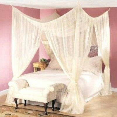 NEW Ivory Four 4 Post Bed Canopy Netting Curtains Sheer Panels Net Any Size Ecru