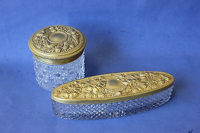 Antique Dressing table Set, Trinket boxes, jewelry boxes.