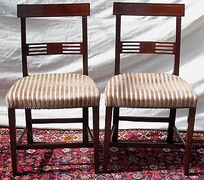 18Th Century Regency Mahogany Inlaid Antique Dining Side Chairs
