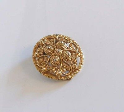 Vintage Ornate Designed Gold Tone Scarf Ring Clip - Collectors Piece