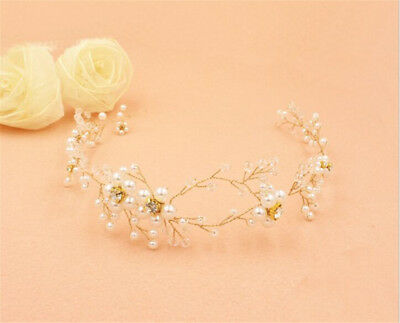 Crystal Floral Hair Vine Pearls Bridal Halo Diamante Wedding Accessories 1 Piece