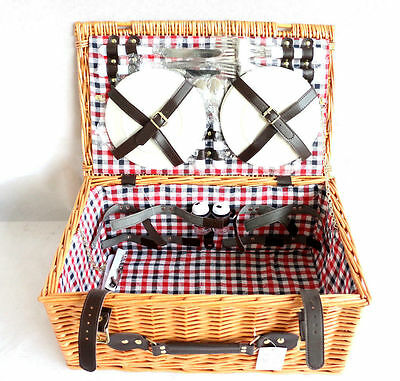 4 Person Luxury Wicker Picnic Hamper Basket Cutlery Plates Set Outdoor Camping