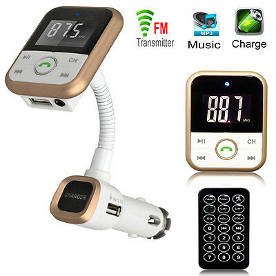 Bluetooth Wireless LCD Car MP3 Player FM Transmitter W/Remote SD USB Charger Kit