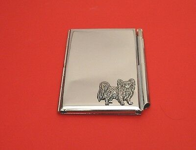 Papillon Dog Motif on Chrome Notebook / Card Holder & Pen Christmas Gift