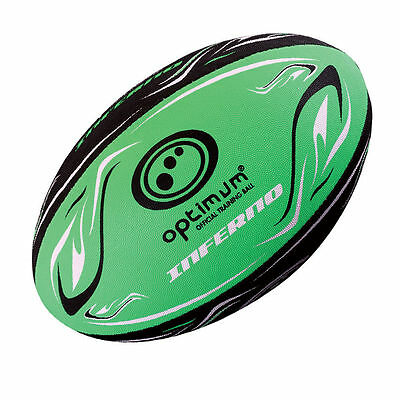 Optimum Inferno Training Rugby Ball Size 5 Black green