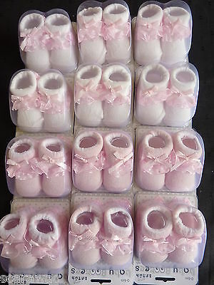 BABY GIRLS SOCK BOOTEES 0-6 mth. - FRILL TRIM - IN GIFT BOX,  - BUYING 12 PAIR