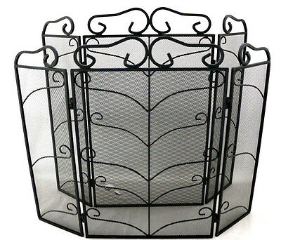 4 Panel Firescreen Vintage Nursery Fire Guard Spark Cover Safety Protector Black