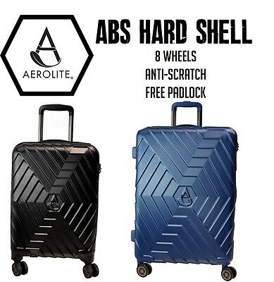 Aerolite Lightweight ABS Hard Shell Suitcase Cabin Hand Hold Luggage 4 Wheels