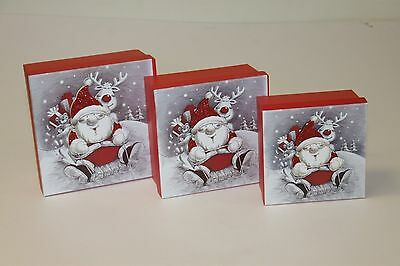 Christmas Santa square 3pc gift boxes with glitter detail Xmas festive gifting