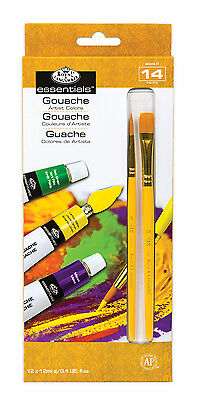 ROYAL LANGNICKEL 12 Gouache PAINT TUBE Colors BONUS 2 Brushes Art Painting