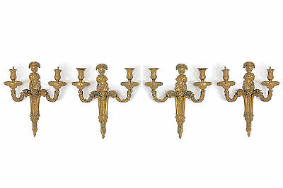 Set Four (4) Louis XVI Style Armillary Motif 2-Candle Bronze Sconces