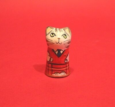 Scottish Dancer Man Hand Painted Pottery Cat Thimble Gift Collectable Thimble
