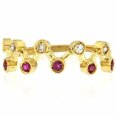 Estate Ring with Rubies & .05CTW of Diamonds 18kt Yellow Gold