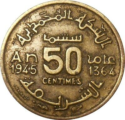 Morocco 50 centimes 1364 1945 Y#40 Mohammed V (M-15)