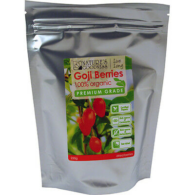 NATURE'S GOODNESS 100% ORGANIC GOJI BERRIES 2 X 250g (TWO FOR THE PRICE OF ONE)