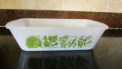 Glasbake Bread Loaf Baking Pan White green Herbs Spices 1 1/2 Quart vintage