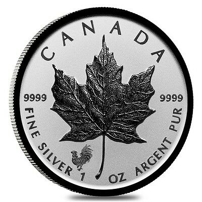 2017 Canadian Maple Leaf 1 ounce .9999 Silver Reverse Proof Coin W/Rooster Privy