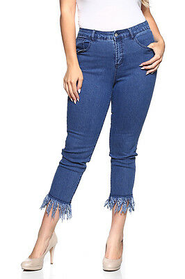 NWT WOMEN INDIGO STRETCH ANKLE FRINGED JEANS, size 4 to 22, Style#16148