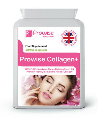 Collagen Type 1 & 2 600 mg 60 Capsules High Strength Skin Care- UK MANUFACTURED