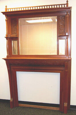 Antique 1880s Cherry Full Fireplace Mantel, Architectural Salvage