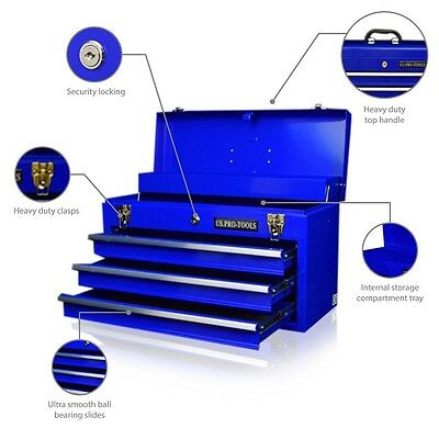 45 US Pro Tools 3 ball bearing drawers steel blue Single Top Tool Box Chest