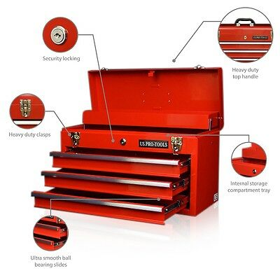 62 US Pro Single Top Tool Box Chest TOOL CHEST RED 3 DRAWERS BALL BEARING SLIDES