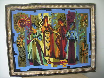 Vintage Circa 1950/60  Framed, French Needlepoint Tapestry ''The Four Seasons''
