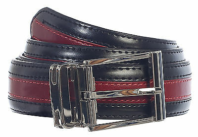 BELT_Men's Premium Handmade Genuine Leather Two Toned 6 Colors Gift_Blk / RED