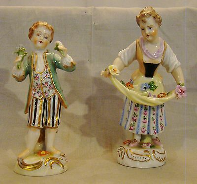 Pair of Dresden Saxonian Porcelain Figurines Boy & Girl With Flowers  after 1901