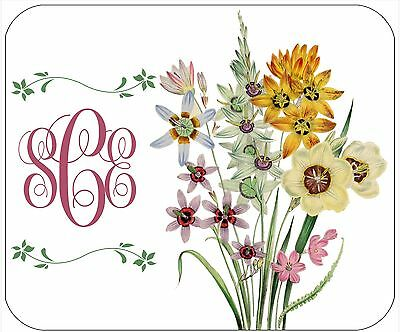 Mouse Pad Custom Personalized Thick Mousepad-Floral Bouquet-Add Text/monogram