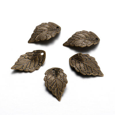 20pcs Antique Bronze Brass Leaf Pendants Carved Dangle Charms Findings 18x10mm