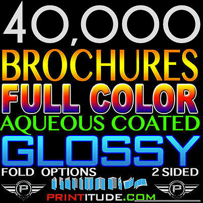 "40,000 Brochure 8.5""x11"" Full Color 2 Sided 100Lb Glossy Aqueous Coated - Folded"