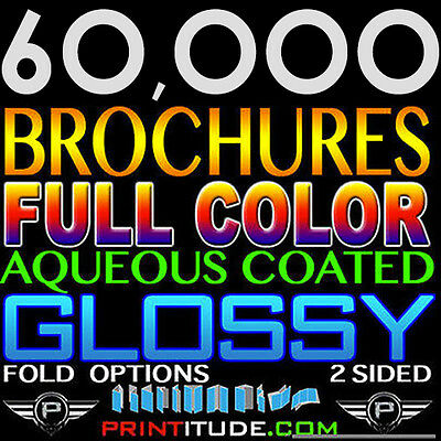 "60,000 Brochure 8.5""x11"" Full Color 2 Sided 100Lb Glossy Aqueous Coated - Folded"