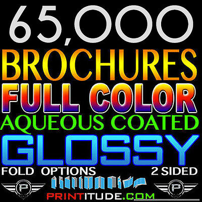 "65,000 Brochure 8.5""x11"" Full Color 2 Sided 100Lb Glossy Aqueous Coated - Folded"