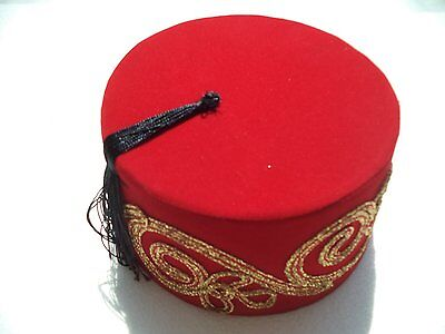 Authentic Red Turkish Ottoman Embroidered Fez Hat Traditional Arabic Headdress