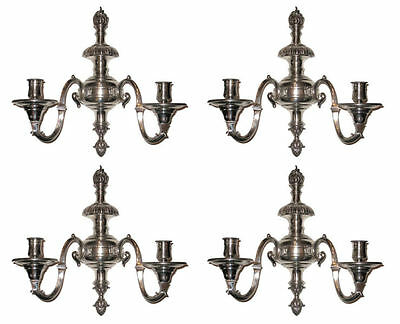 Set Four (4) Antique Silvered Bronze Regency Style Sconces