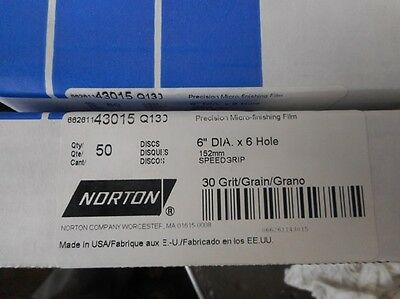 """350 Norton 6"""" Hook/Loop Micro-finishing Q130  Discs 30 Microns (about 500 grit)."""