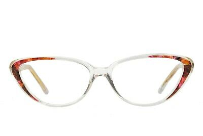 ce24b3c0dd New Vintage Club LA 3104 Womens Cat Eye Crystal Clear Glasses Frames Italy  1990s