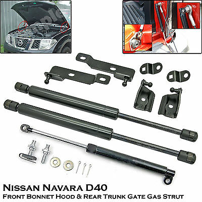 Front Bonnet + Rear Trunk Gas Shock Strut Damper For Nissan Navara D40 05-14