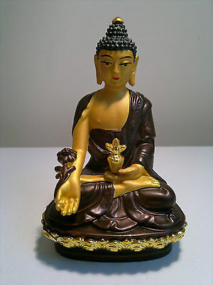 BNIB Medicine Buddha Statue 10cm Bronze&Gold Blessed by Monks The Supreme Healer