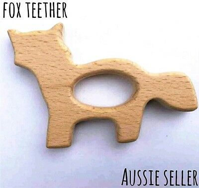 X1 fox Natural organic wooden teether baby teething toy necklace large DIY ring
