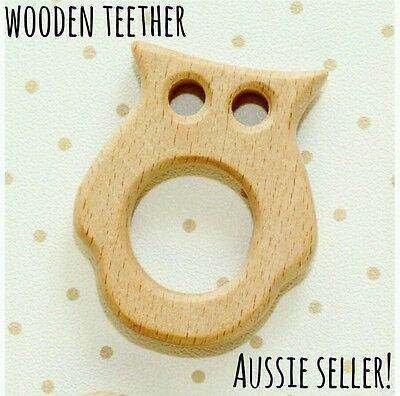 Natural organic wooden teether baby teething toy necklace large DIY ring owl kid