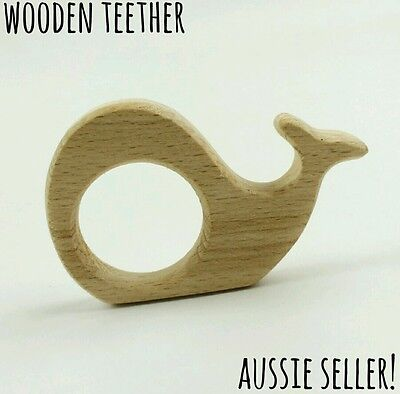 Natural organic wooden teether baby teething toy necklace large DIY ring whale