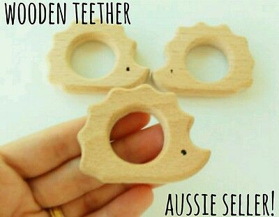Natural organic wooden teether baby teething toy necklace large DIY ring echidna