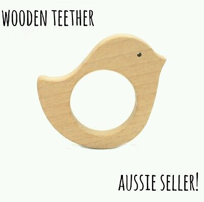 Natural organic wooden teether baby teething toy necklace large DIY ring bird