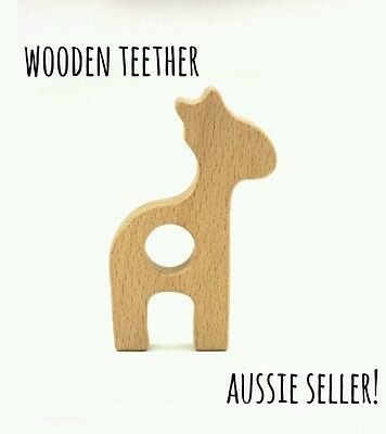 Natural organic wooden teether baby teething toy necklace large DIY ring giraffe
